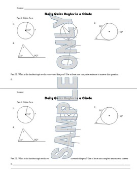 Daily Quiz: Angles in a Circle
