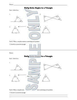 Daily Quiz: Angles in a Triangle