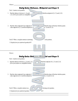 Daily Quiz: Distance, Midpoint and Slope II
