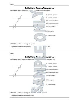 Daily Quiz: Naming Transversals