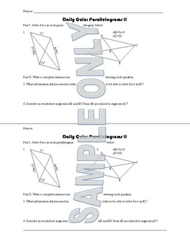 Daily Quiz: Parallelograms II