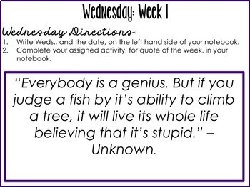 Daily Quote Bell Ringers for Middle School, High School, and Upper Elementary