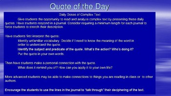Daily Quotes for Journals and Bell Ringers