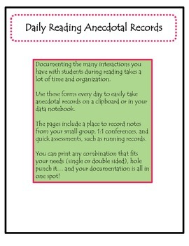 Daily Reading Anecdotal Record Forms