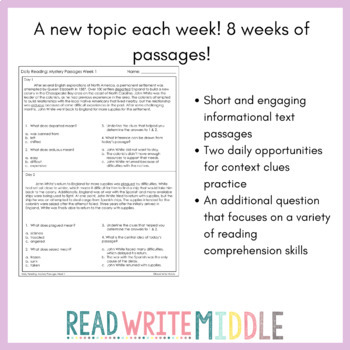 Daily Reading Comprehension Passages and Questions 24 Weeks of short passages!