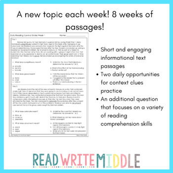Daily Reading Comprehension Passages and Questions for ELA Test Prep