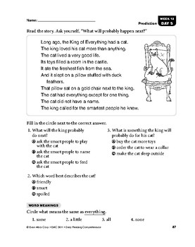 Daily Reading Comprehension, Grade 1, Weeks 11-15 | TpT