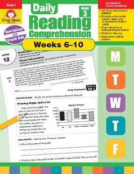 Daily Reading Comprehension, Grade 3, Weeks 6-10