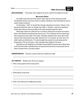 Daily Reading Comprehension, Grade 4, Weeks 1-5