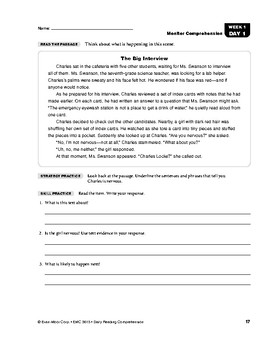 Daily Reading Comprehension, Grade 5, Weeks 1-5