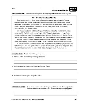 Daily Reading Comprehension, Grade 5, Weeks 16-20