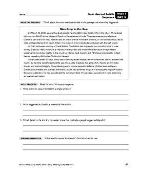 Daily Reading Comprehension, Grade 6, Weeks 6-10 | TpT