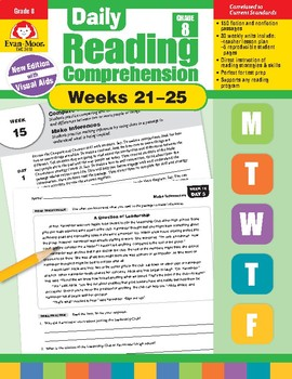 Daily Reading Comprehension, Grade 8, Weeks 21-25