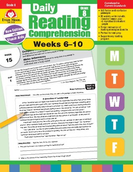 Daily Reading Comprehension, Grade 8, Weeks 6-10