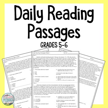 Daily Reading Comprehension Passages & Questions Context Clues