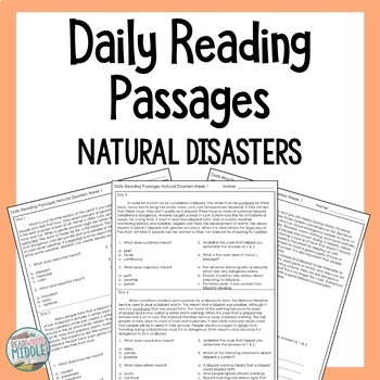 Daily Reading Comprehension Passages & Questions Natural Disasters Context Clues