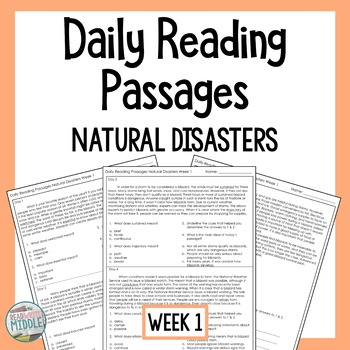 Daily Reading Comprehension Passages & Questions Natural Disasters Week 1