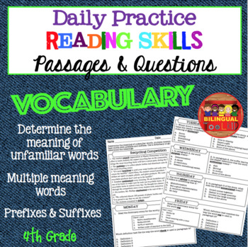 Daily Reading Comprehension Vocabulary Passages Grade 4