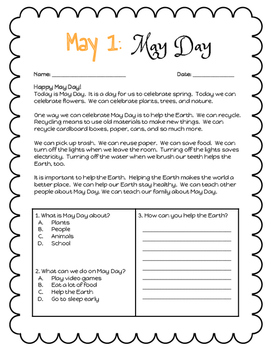Daily Reading Comprehension and Writing Prompts May Version