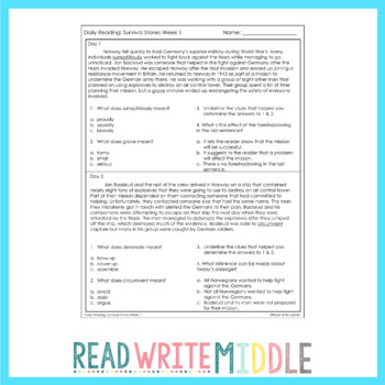 Daily Reading Context Clues Survival Stories Week 1
