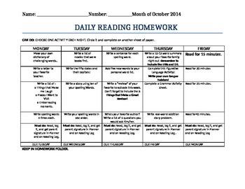 Daily Reading Homework