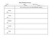 Daily Reading Homework with Common Core Skills Practice