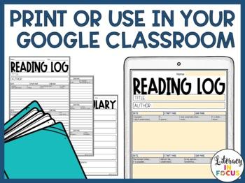 Reading Log with Sentence Starters - Editable, Printable, & Digital