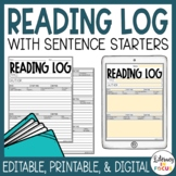 Reading Log with Summary | Digital | Editable | Distance Learning
