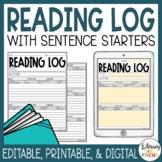 Reading Log with Summary | Digital | Editable | Printable