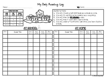 Daily Reading Log and Monthly Assessment Sheet