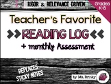 Best Daily Reading Log with Stems and Monthly Assessment Sheet