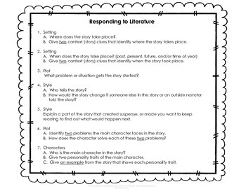 Daily Reading Log and Response Questions