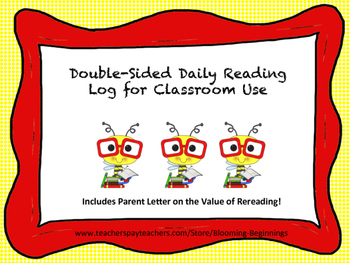 Daily Reading Log for Classroom Use