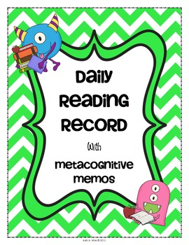 Daily Reading Log for Homework or Classwork + Metacognitiv
