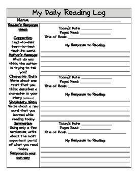 Daily Reading Log with Response Choices
