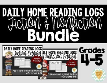 Daily Reading Logs for Fiction & Non-Fiction - 36 Weeks of Each! {Grades 4-5}