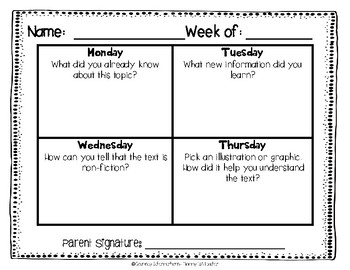 Daily Reading Logs for Non-Fiction - 36 Weeks {Grades 2-3}