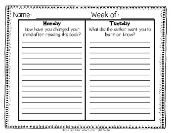 Daily Reading Logs for Non-Fiction - 36 Weeks {Grades 4-5}