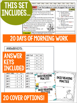 Daily Reading Morning Work Grades 6-8: Set Two