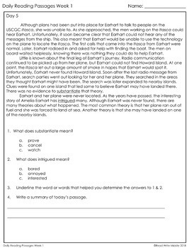 Daily Reading Reading Comprehension Passages & Questions Grades 5-6