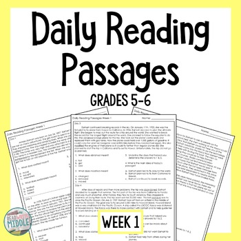Daily Reading Reading Comprehension Passages & Questions Grades 5-6 Week 1