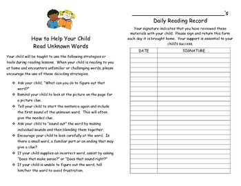 Daily Reading Record with Parent Suggestions