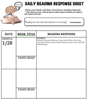 Daily Reading Response Log ~ CCSS aligned response questions; Grade 3 & Up