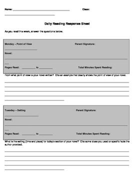 Daily Reading Response Logs