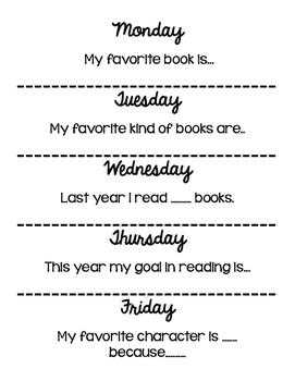 Daily Reading Response Prompts