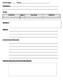Daily Reading Response Sheet- Lit Circles