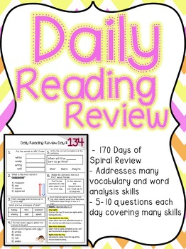 3rd grade Daily Reading Review - 170 Days of Spiral Review