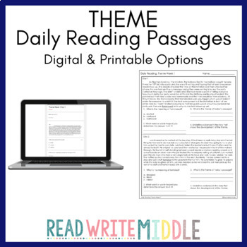 Daily Reading Theme Passages With Context Clues Practice 4 Weeks