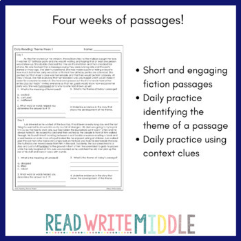 Daily Reading Theme Passages With Context Clues Practice