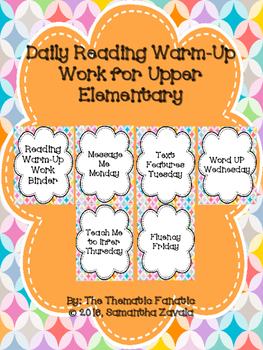 Daily Reading Warm-Up Work for Upper Elementary